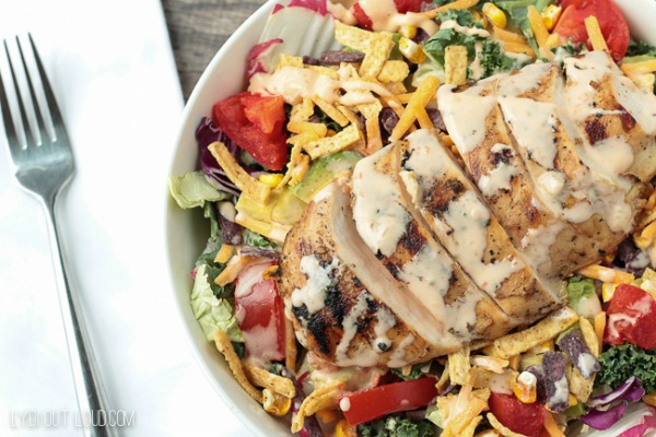 Tequila Lime Grilled Chicken Salad from Lydi Outloud