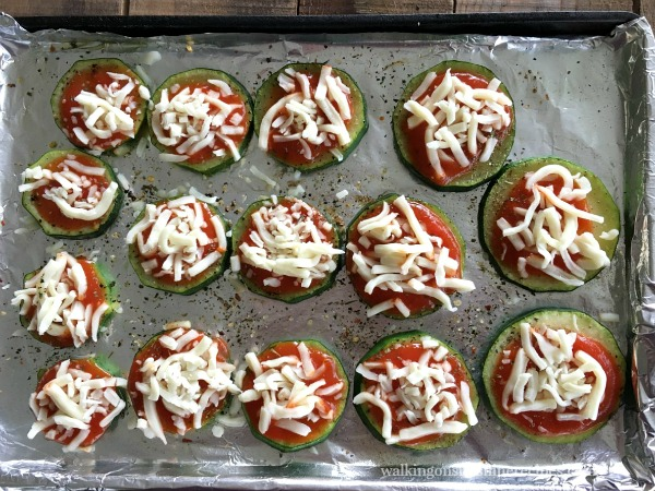 Add Mozzarella Cheese to Zucchini Pizza Bites from Walking on Sunshine