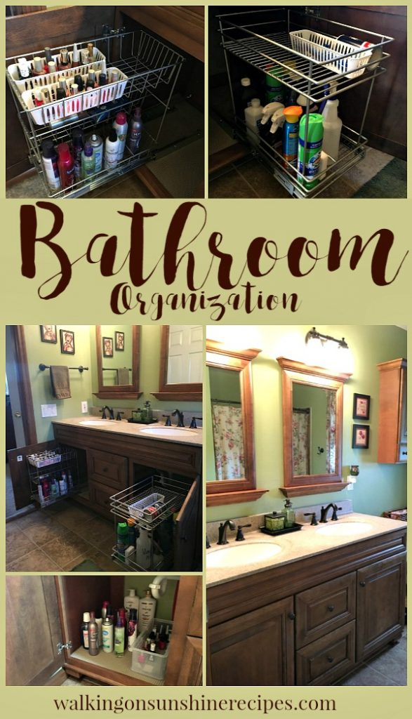 Easy Bathroom Vanity Organization with ClosetMaid pull-out baskets from Walking on Sunshine.