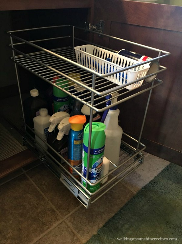 Bathroom Vanity Organization with pull out shelving.