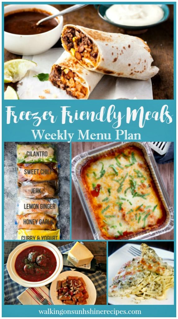 Freezer Friendly Meals Weekly Menu Plan from Walking on Sunshine Recipes