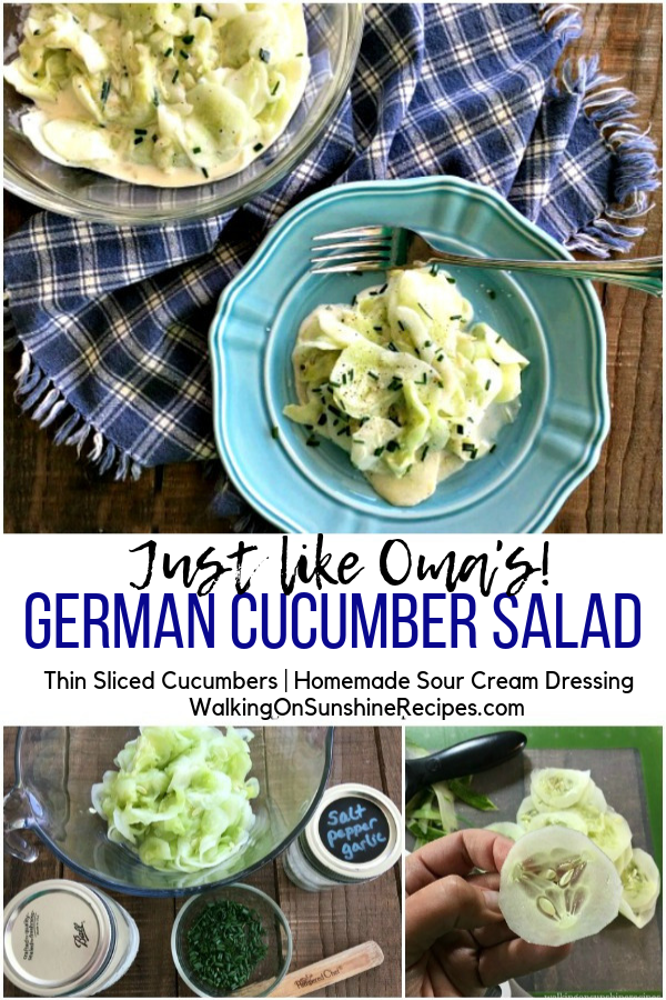 Just like Oma's German Cucumber Salad with process photos and thinly sliced cucumbers made with a mandoline slicer.