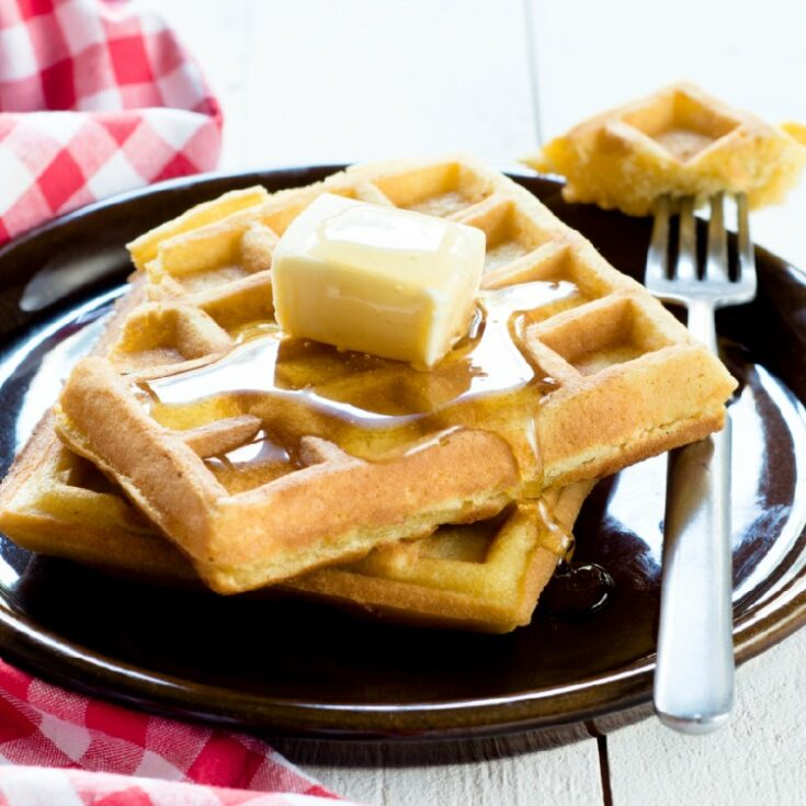 Homemade Square Waffles on plate with butter and syrup from WOS