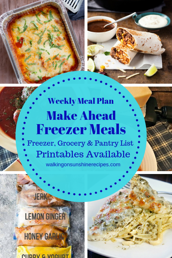 Make Ahead Freezer Meals and Recipes are featured as part of our Weekly Meal Plan with printable menus available to help plan dinner this week.