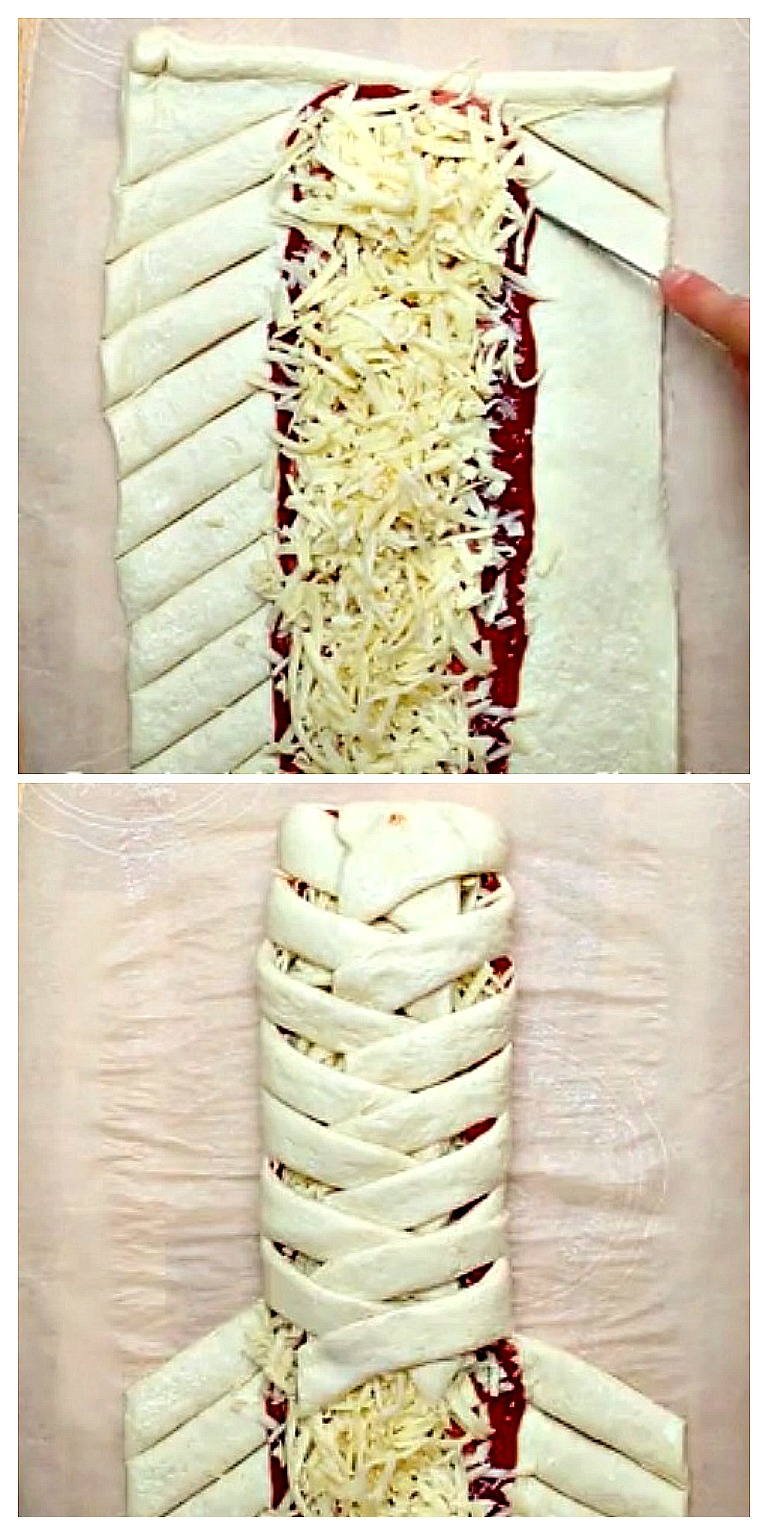Step by step directions on making a braid out of pizza dough.