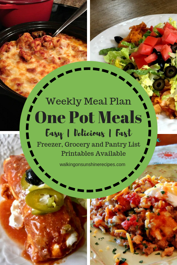 One Pot Meals - Weekly Meal Plan