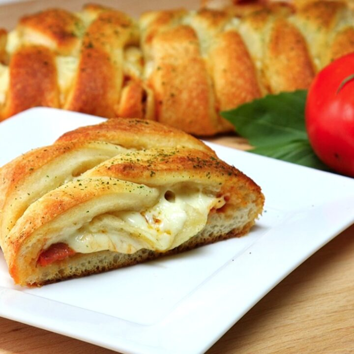 Pizza Braid made with mozzarella cheese and pepperoni