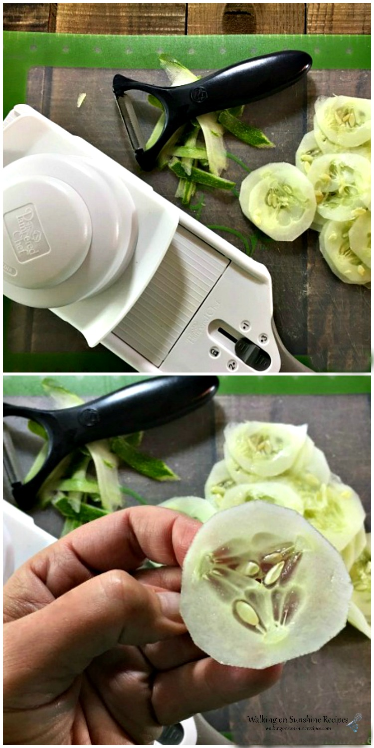 Slice cucumbers really thin using a mandoline slicer for Oma's German Cucumber Salad