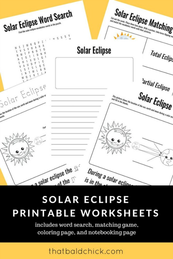 Solar Eclipse Printable Worksheets from That Bald Chick