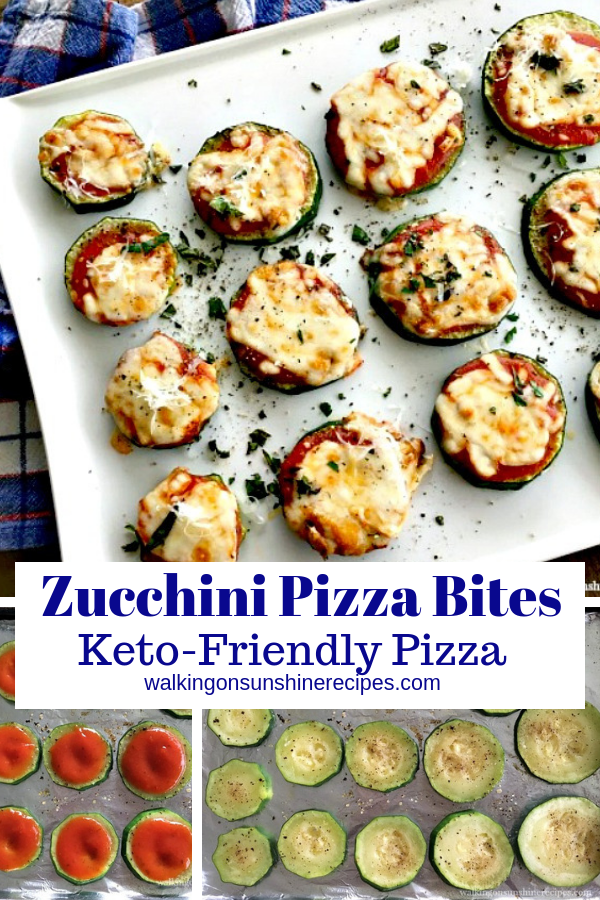 Zucchini Pizza Bites with marinara sauce and mozzarella cheese.