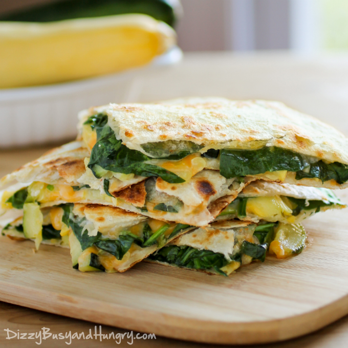 Cheesy Zucchini Spinach Quesadillas from Dizzy Busy and Hungry