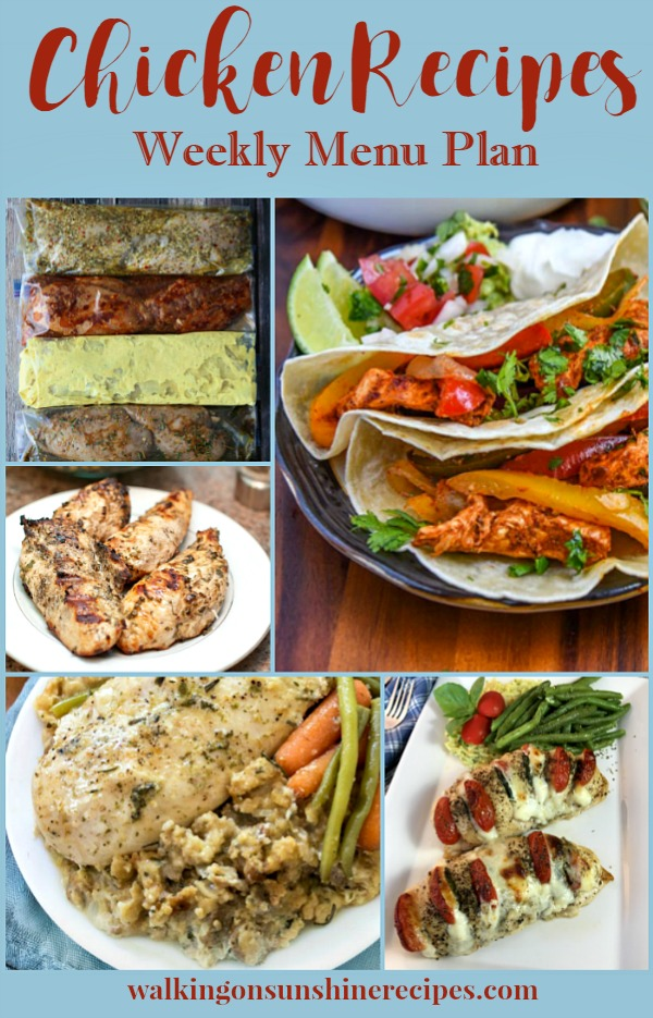5 Boneless Skinless Chicken Breast Recipes featured this week on Walking on Sunshine's Weekly Menu Plan.