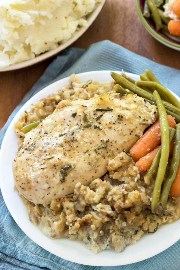 Crock Pot Chicken and Stuffing from The Cozy Cook