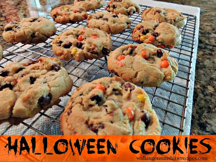Halloween Cookies with colorful chocolate candy pieces from Walking on Sunshine Recipes.