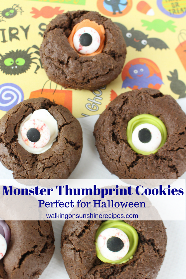 Halloween Thumbprint Monster Cookies