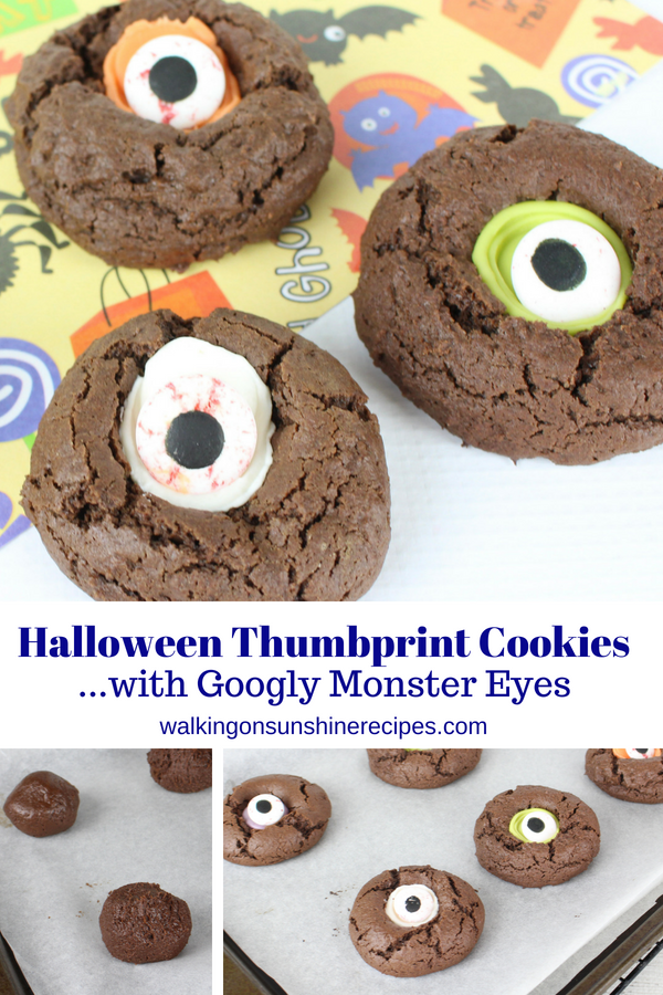 Halloween Thumbprint Cookies with Googly Monster Eyes