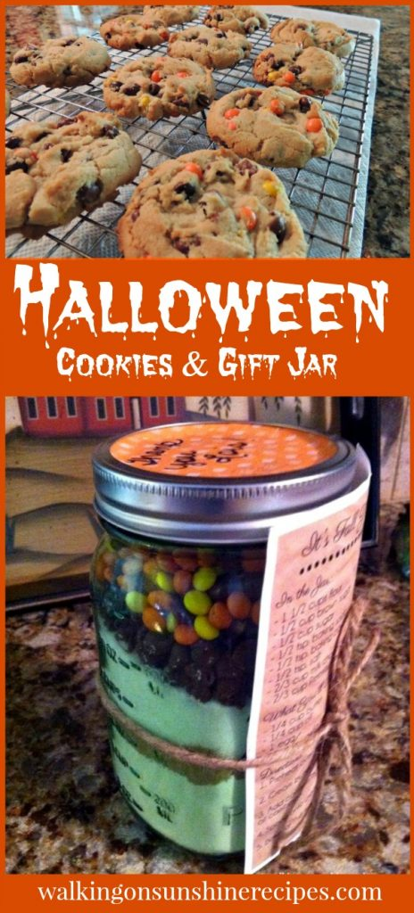 Halloween Cookies with a Gift Jar Idea from Walking on Sunshine Recipes.