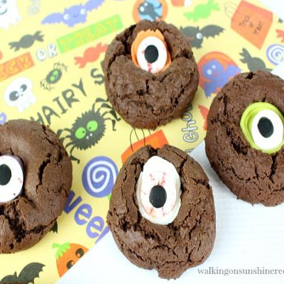 Halloween Thumbprint Cookies with Scary Googly Eyes