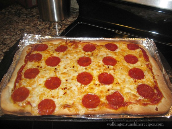 Pepperoni and Mozzarella Cheese Pizza Baked from Walking on Sunshine Recipes