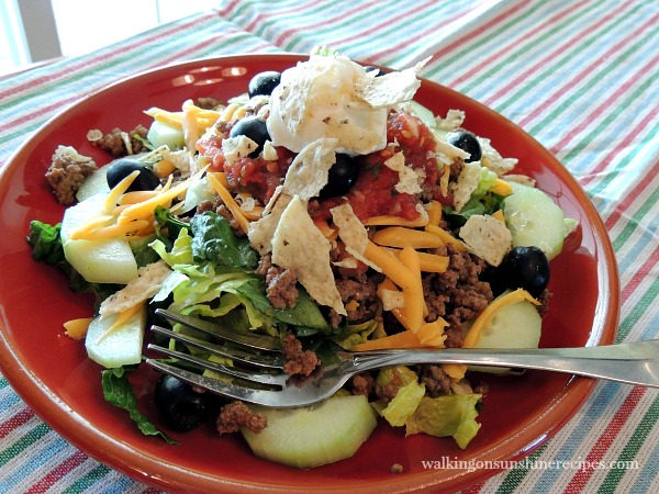 Taco Salad with Homemade Taco Seasoning from Walking on Sunshine Recipes