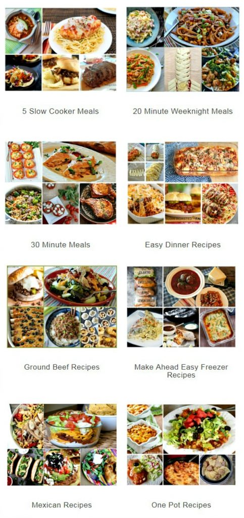 Weekly Menu Plan index of recipes featured on Walking on Sunshine Recipes.