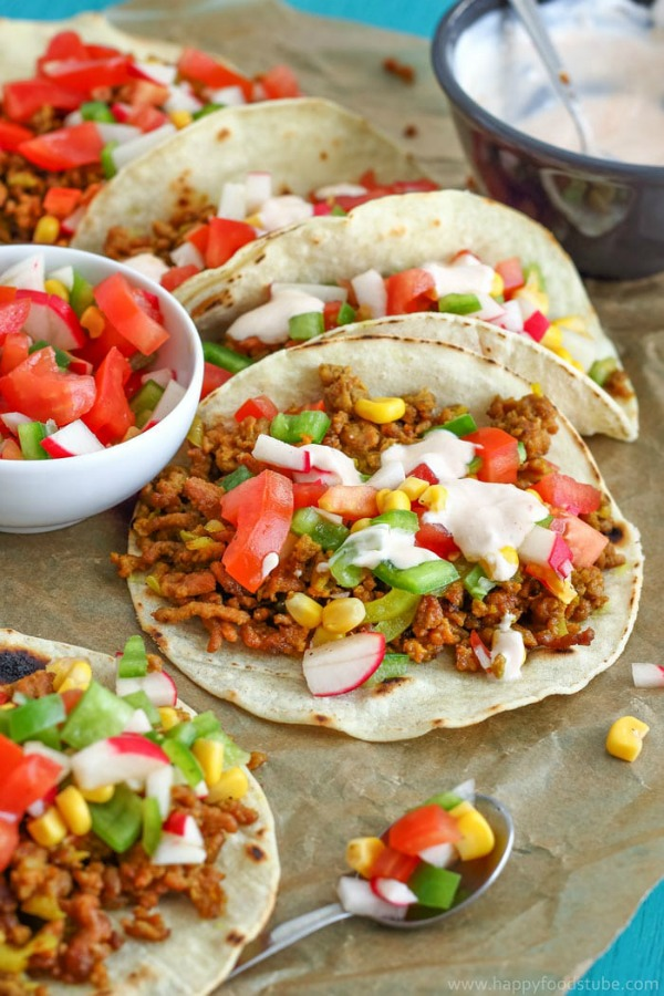 Beef Tacos with Sweet Corn Salsa from Happy Foods Tube