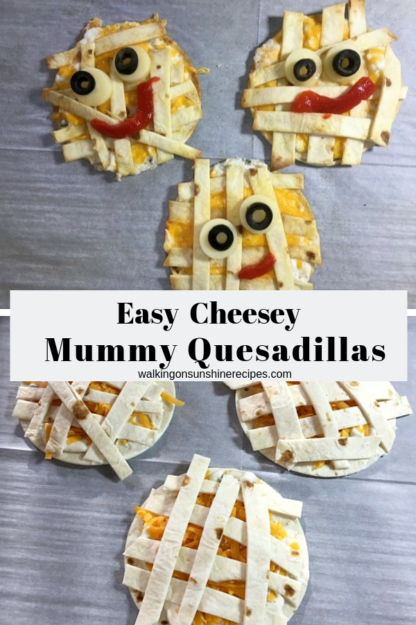 Cheesy Easy Mummy Quesadillas are an easy recipe to make for a busy night of fun for the kids and family this Halloween.