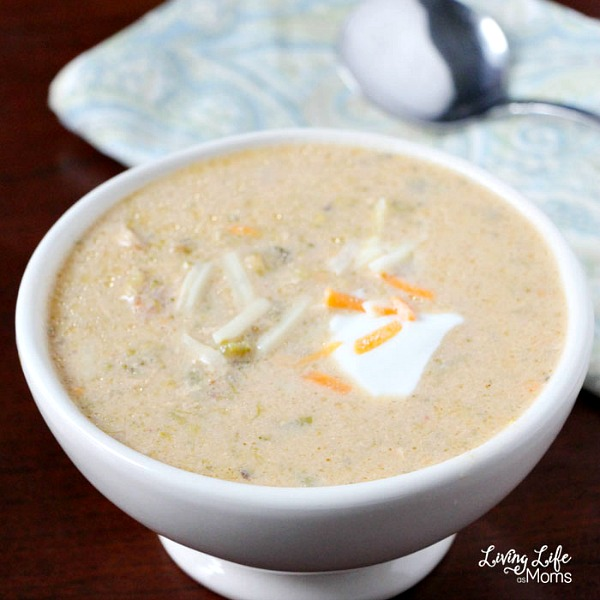 Creamy Instant Pot Broccoli Cheese Soup from Living Life as Moms