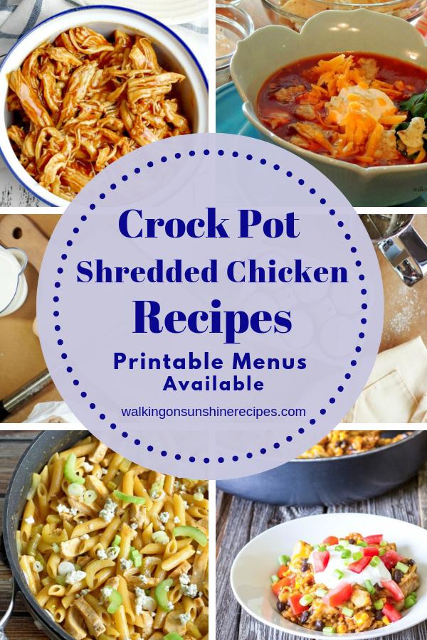 Shredded chicken recipes for dinner.