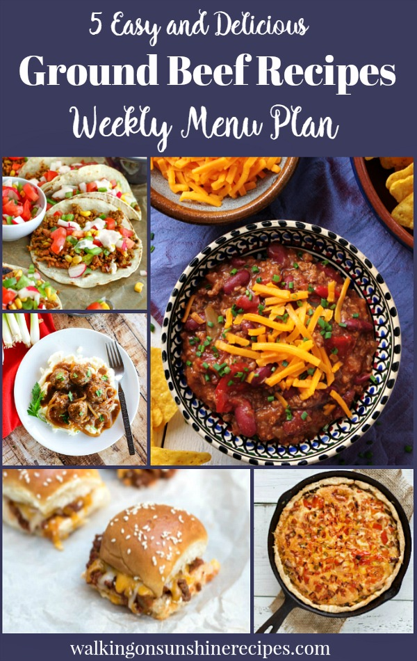 5 Delicious Ground Beef Recipes are perfect for this week's menu plan featured on Walking on Sunshine Recipes | Tacos, Salisbury Steak Meatballs | Cheeseburger Pie | Sloppy Joes | Crock Pot Chili