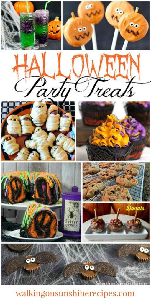 Halloween Party Treats featured on Walking on Sunshine Recipes.  #Halloweentreats