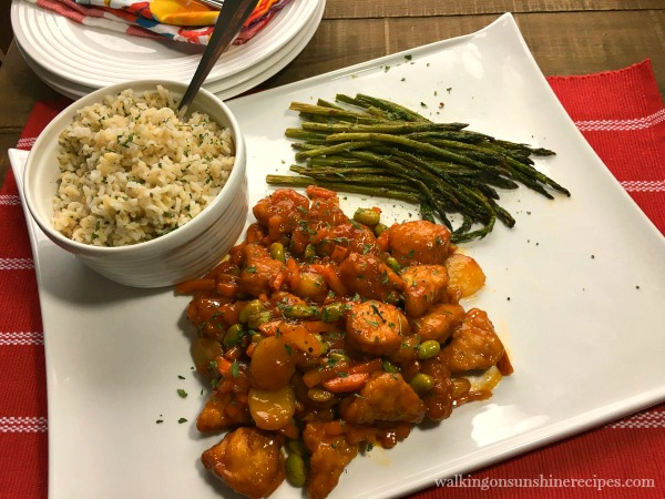 PF Chang's Orange Chicken, brown rice and roasted asparagus are for dinner tonight from Walking on Sunshine Recipes.