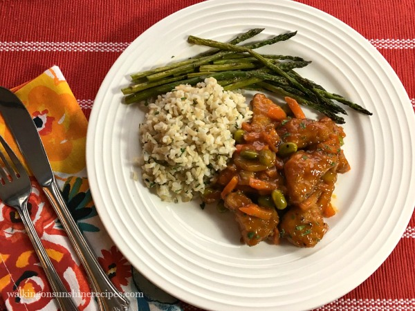 PF Changs Orange Chicken with Brown Rice, Roasted Asparagus from Walking on Sunshine