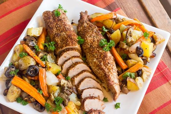 Roasted Pork Tenderloin with Vegetables from The Black Peppercorn