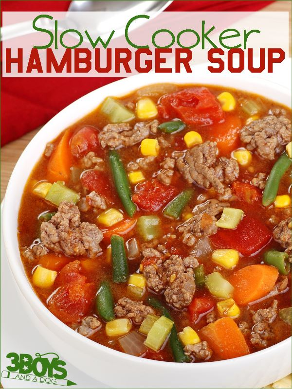 Slow Cooker Hamburger Soup from 3 Boys and a Dog