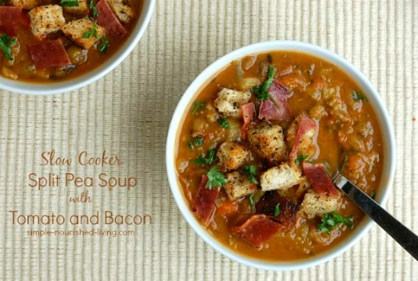 Slow Cooker Split Pea Soup with Bacon from Simple Nourished Living