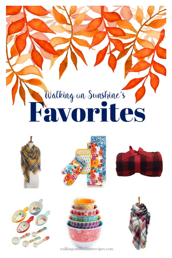 Here are a few of my Favorite Fall Finds | Blanket Scarves | Blanket Throws | Pioneer Woman Napkins | Walking on Sunshine Recipes.