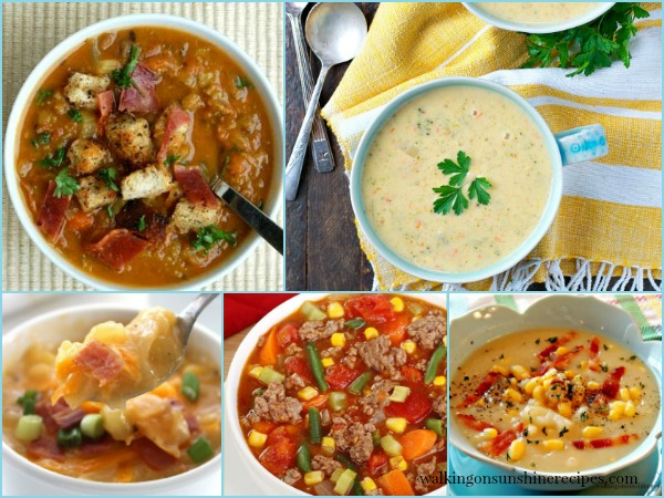 5 Easy and Delicious Crock Pot Soup Recipes   Weekly Menu Plan   Walking on Sunshine Recipes