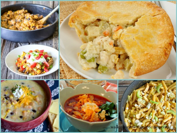 Weekly Menu Plan Shredded Chicken FEATURED photo from Walking on Sunshine Recipes.