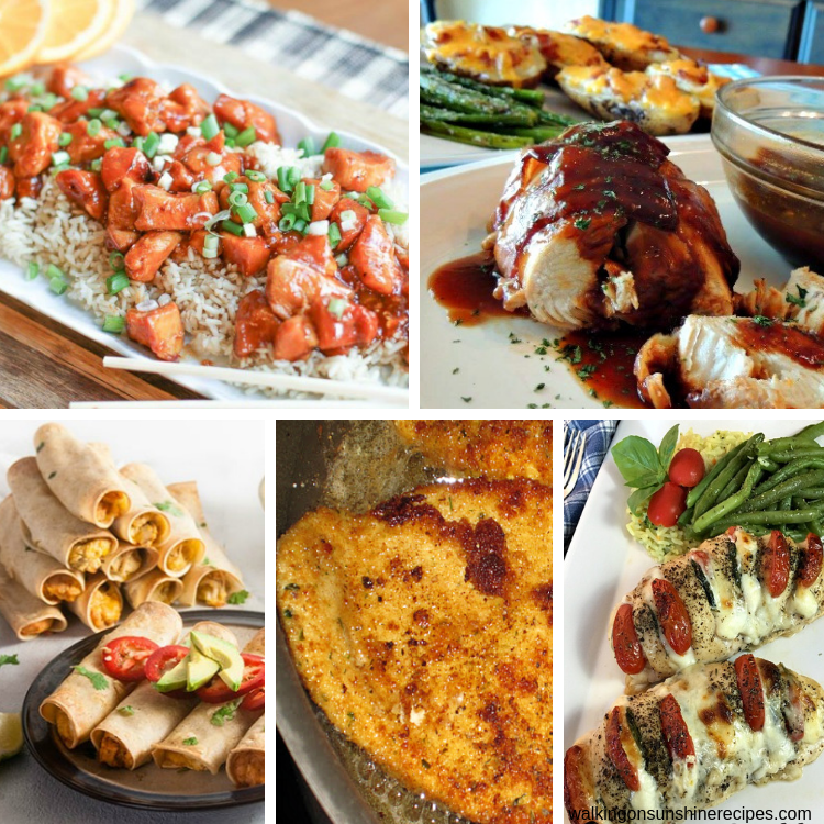 5 different chicken recipes featured on our weekly meal plan.