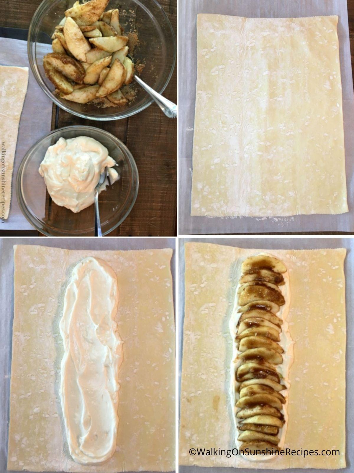 Proceso de trenza de manzana.