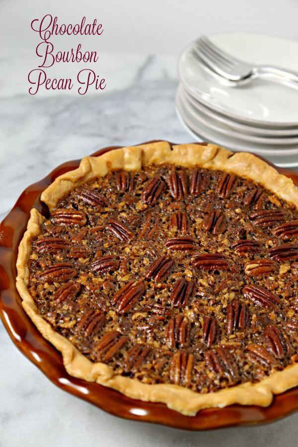 Chocolate Bourbon Pecan Pie from Cooking in Stilettos