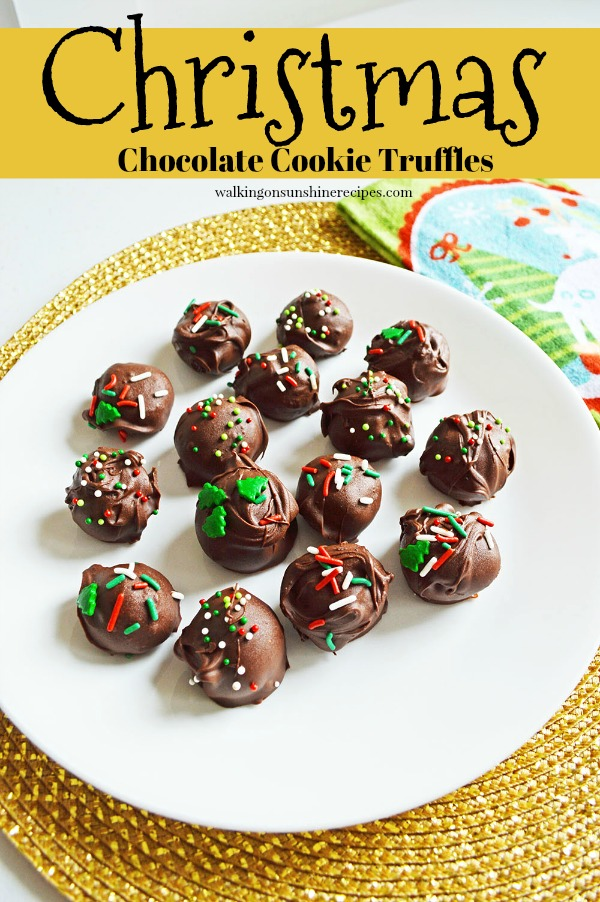 3 ingredient Oreo Truffles with Christmas sprinkles