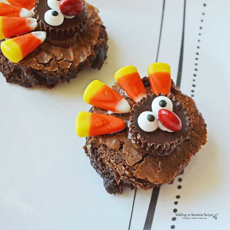 Closeup of Turkey Brownies treat for Thanksgiving from Walking on Sunshine Recipes