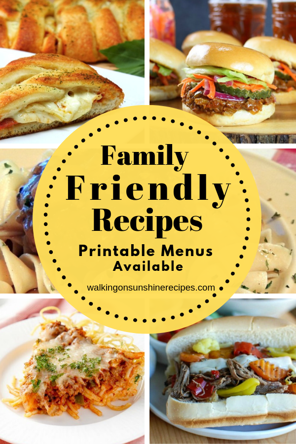 5 family friendly recipes for dinner this week.