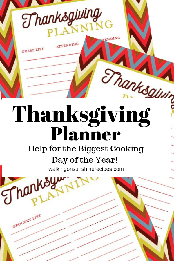 photograph relating to Thanksgiving Planner Printable named Thanksgiving Planner Printables Strolling upon Sun Recipes