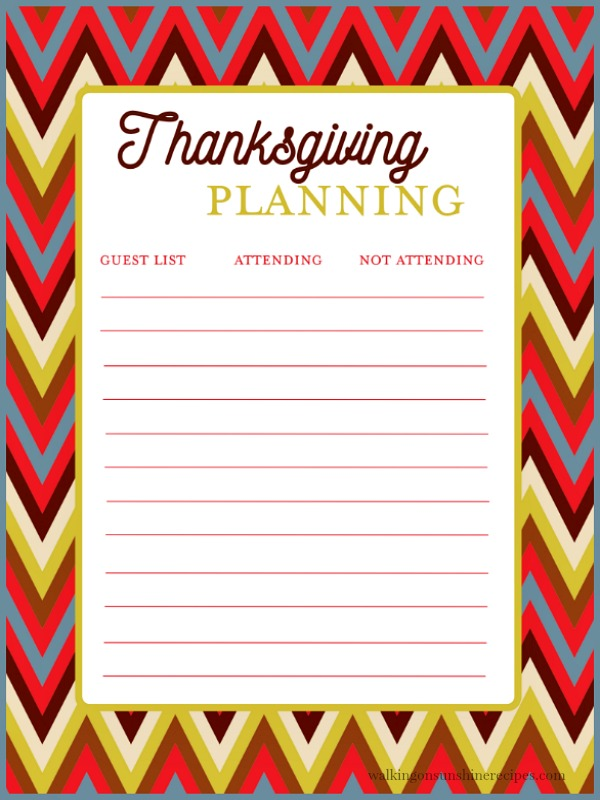 Thanksgiving Guest List
