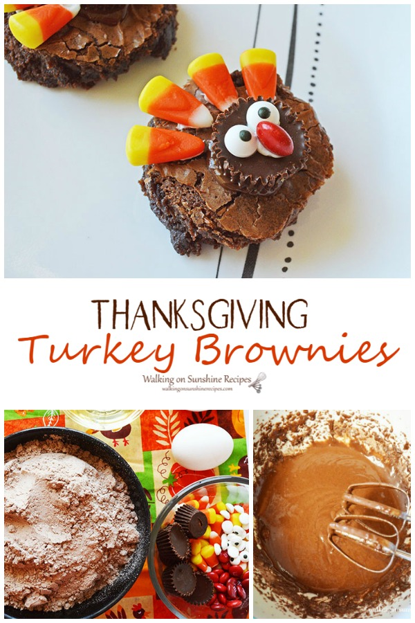 Thanksgiving Turkey Brownies the perfect treat for everyone from Walking on Sunshine Recipes