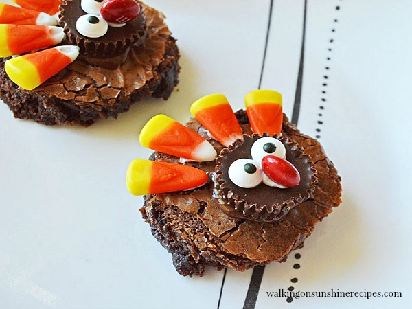 Thanksgiving Turkey Brownies on white platter ready to serve