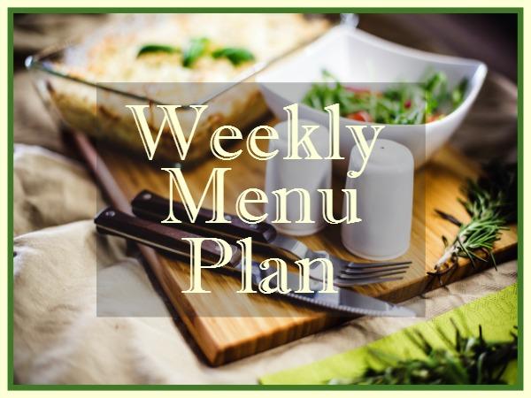 Weekly Menu Plan from Walking on Sunshine Recipes.